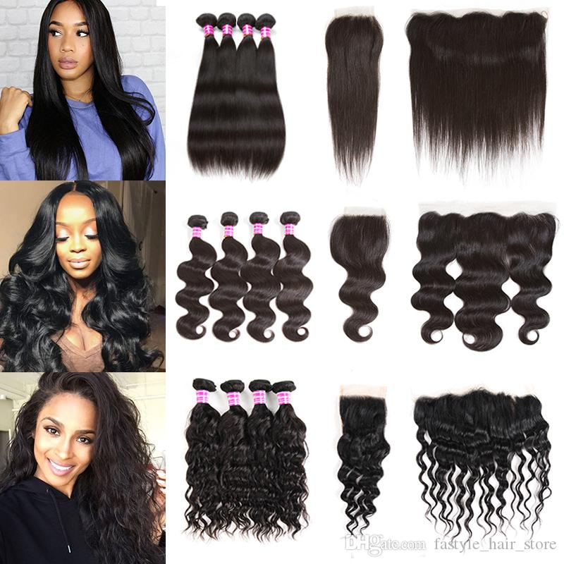Mink Brazilian Virgin Hair 4 Bundles With Closure Or Frontal 8a Straight Body Deep Water Wave Kinky Curly Human Hair Weft Extensions Weave
