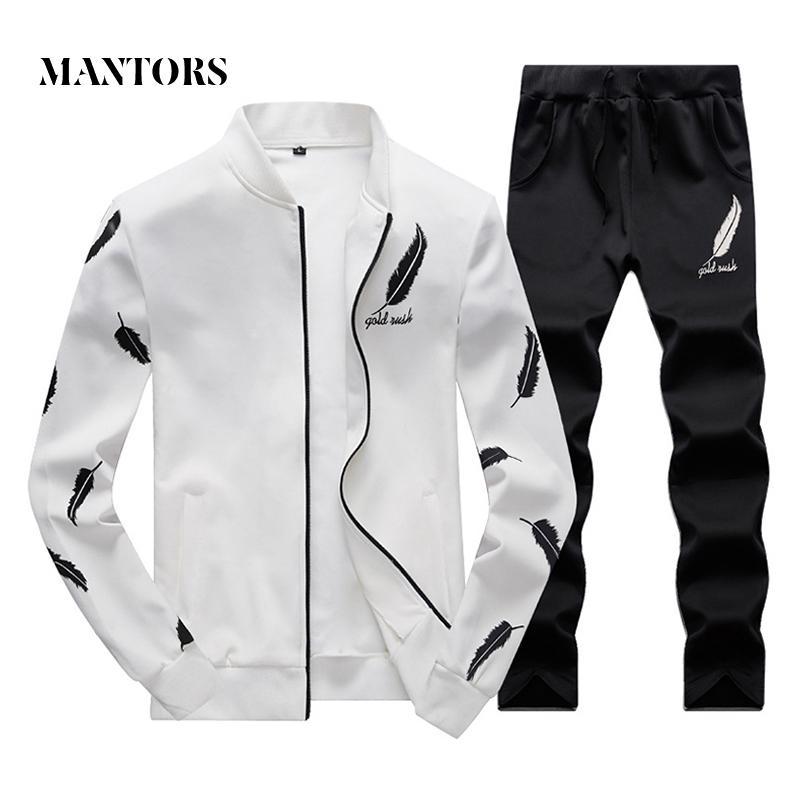 Mężczyźni Casual Dressuit Set 2018 Moda Męski Jesienny Stojak Kołnierz Perbers Bluza + Spodnie dresowe 2 Kawałki Zestawy Slim Sportswear Mężczyzna