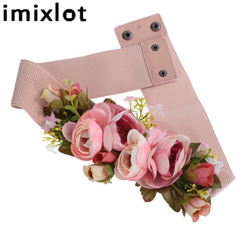 Imixlot Doce Elegante Mulheres Rosa Flor Belt Cintura Elástica Cadeia de Casamento Fivela Cintura Boho Floral Cinto Acessórios
