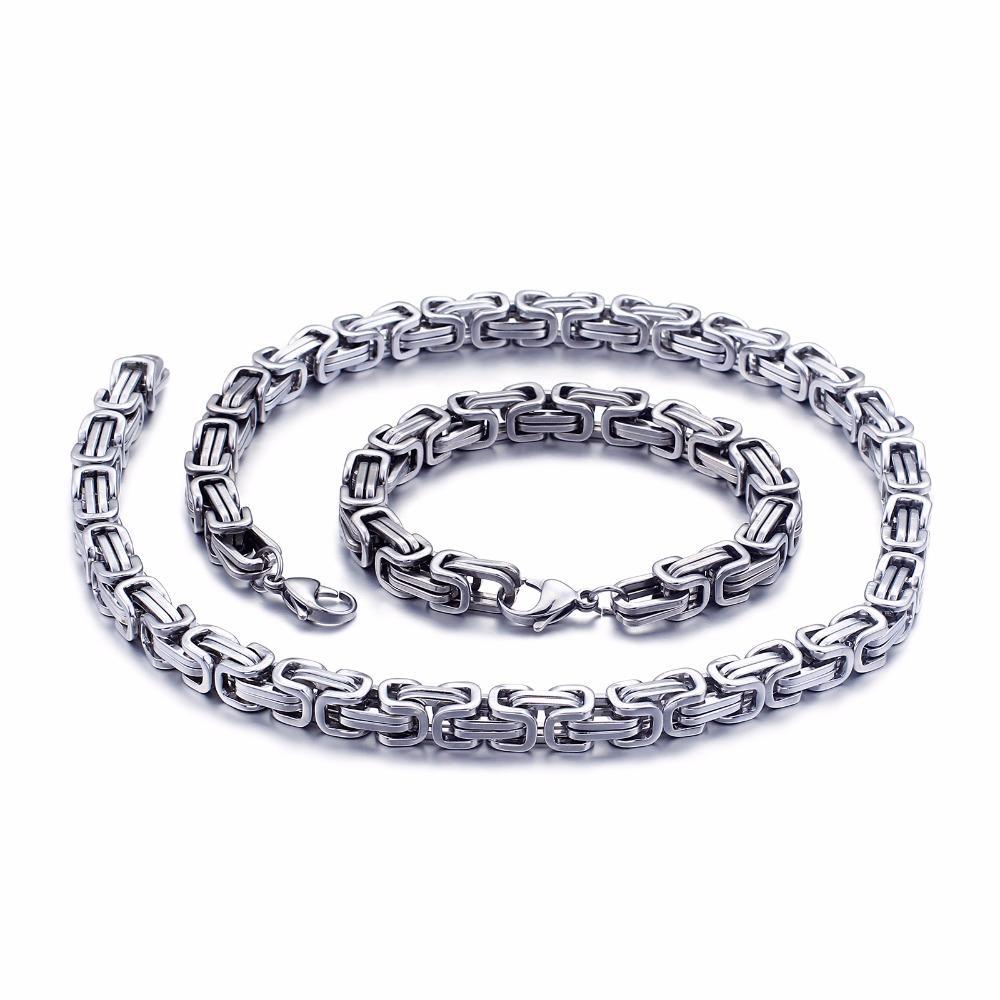 5 ملليمتر / 6 ملليمتر / 8 ملليمتر واسعة الفضة الفولاذ الصلب الملك البيزنطية سلسلة قلادة سوار رجل مجوهرات اليدوية