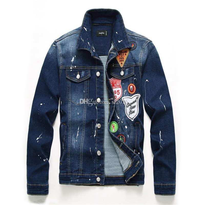 Brand New Badge Denim Veste Hommes Graffiti Vintage Patch Bomber Veste Designer Moto Biker Jeans Vestes Pour Hommes Hip Hop Streetwear