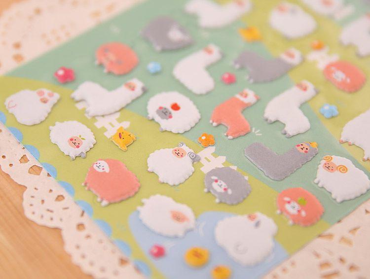 2018 1pcs 시트 한국 스타일 Kawaii 3D 만화 양 Alpaca PVC 일기 버블 스티커 노트북 앨범에 대 한 카드 용지