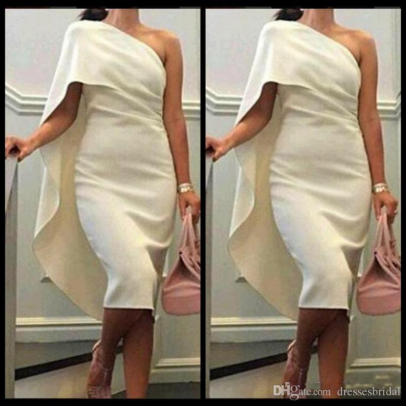 Robes de cocktail courtes pas chères une épaule gaine robes de bal avec Cape Tea Longueur robe de soirée et de la taille des robes de retour