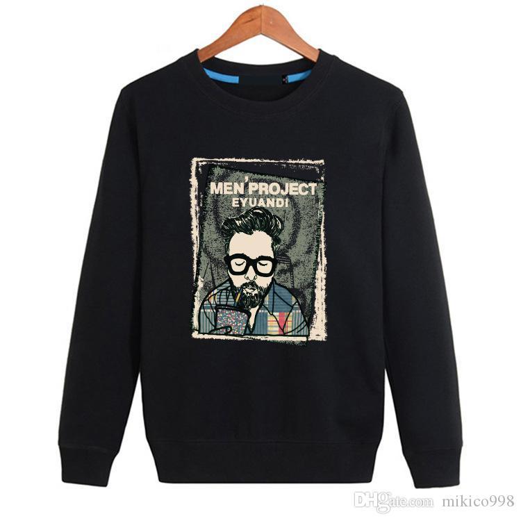 carta de los hombres suéter de cuello redondo STREETWEAR Negro y algodón blanco de movimiento de la moda casual tipo flojo nuevo estilo de capa suéter q