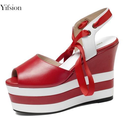 Yifsion 새로운 유행 여자 플래트 홈 샌들 쐐기 높은 뒤꿈치 샌들 엿봄 발가락 까만 파란 빨강 Prom 여성 구두 미국 플러스 크기 3-8.5