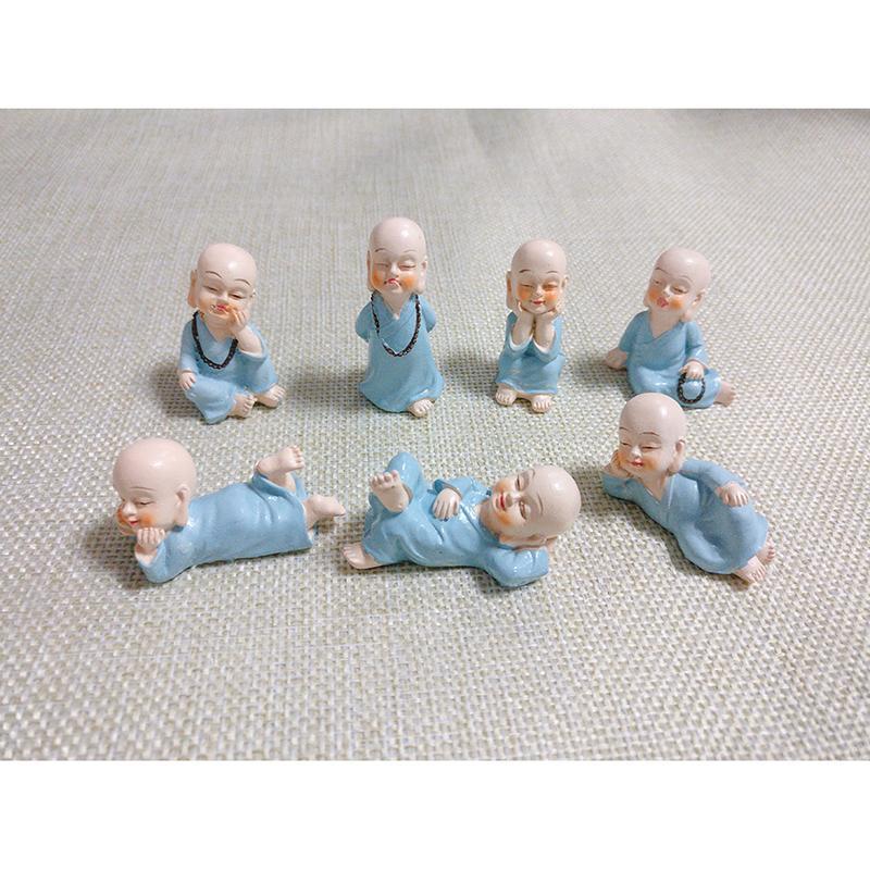 New 7pcs Mini Monks Figuren Resin Zen und Shaolin Dekorative Ornamente Desktop-Miniaturen Feegarten Terraium Home Garten Dekoration