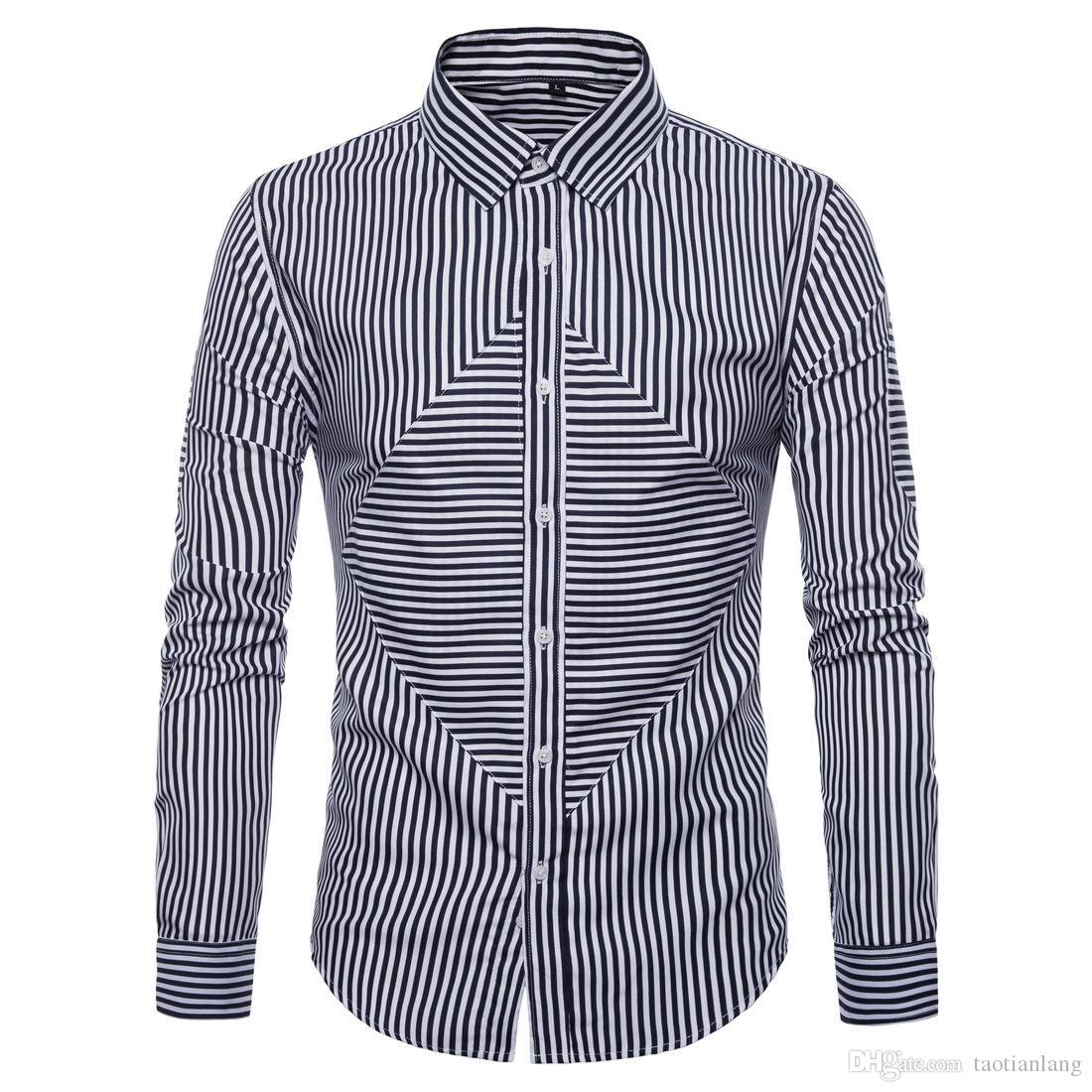 Erkekler Şerit Gömlek Moda Sonbahar Uzun Kollu Iş Gömlek Mens Pamuk Blend Erkekler Için Rahat Elbise Gömlek S-2XL J180730