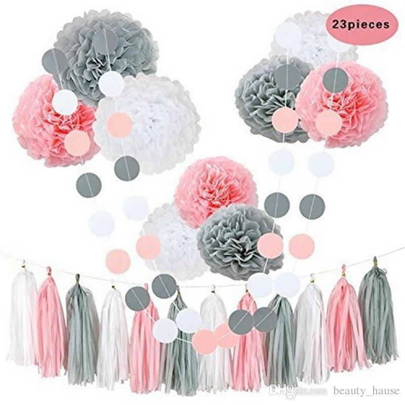 Rosa gris blanco feliz cumpleaños fiesta de bienvenida al bebé decoración boda kit de decoración colgante con papel flores flores borla bandera puntos guirnaldas