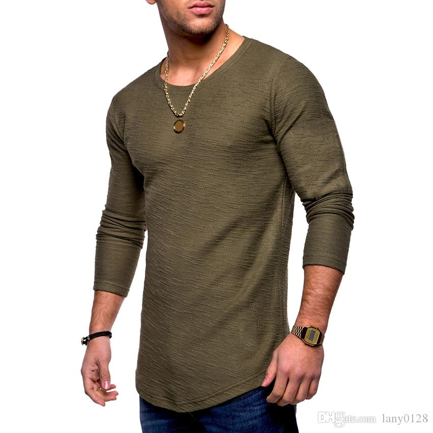 Shirt Long Sleeve T-shirt Casual Tops Leisure Solid Color Slim Fit High Quality