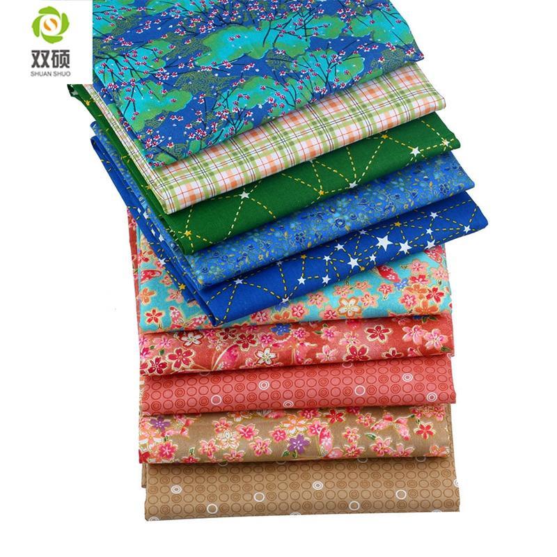 ShuanShuo algodón remiendo de la tela de la tela cruzada de tela de tejido de hojas hechas a mano bricolaje acolchar costura BabyChildren Dress 40 * 50cm