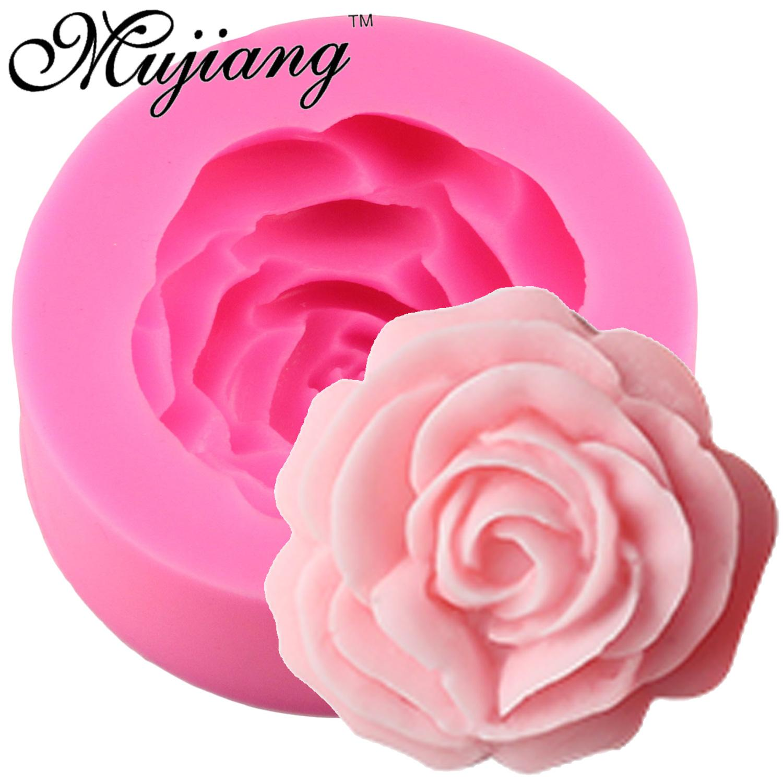 Comercio al por mayor 3D Flor de Rose Vela Molde de Silicona Para Fondant Herramientas de decoración de Pasteles Azúcar Craft Caramelo de Chocolate Fimo Clay Jabón Moldes