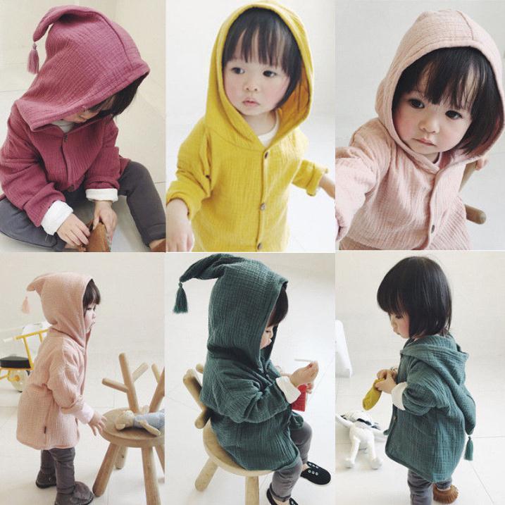 Bebê Brasão crianças meninas meninos com capuz revestimento do revestimento da criança Roupa Tassel Hoodies Exteriores Crianças Roupa 1-6Y