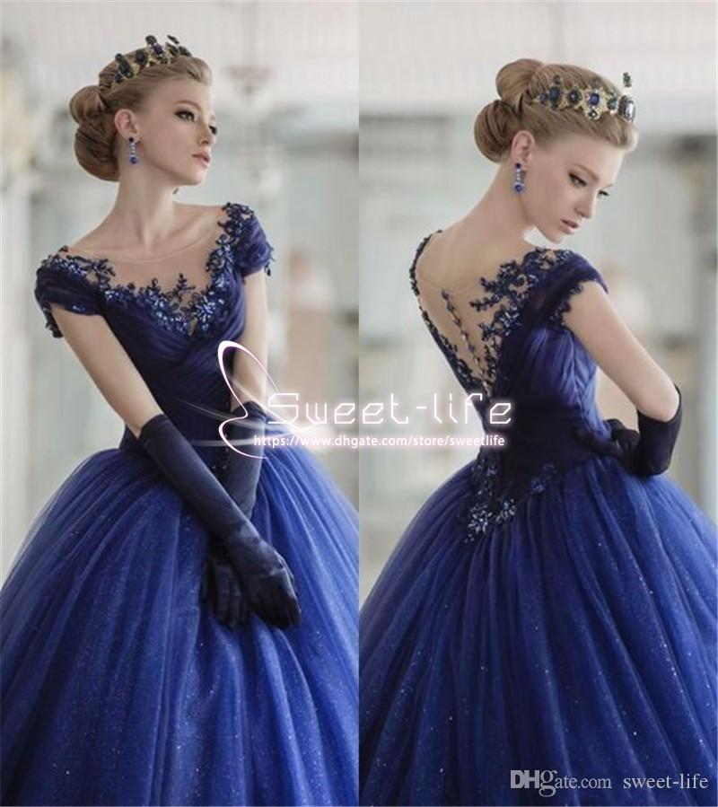 Navy Blue 2019 Vintage Ball Gown Evening Dresses Scoop Neck Cap Sleeves Lace Appliques Tulle Custom Made empire Tulle Tired Skirt Prom Gowns