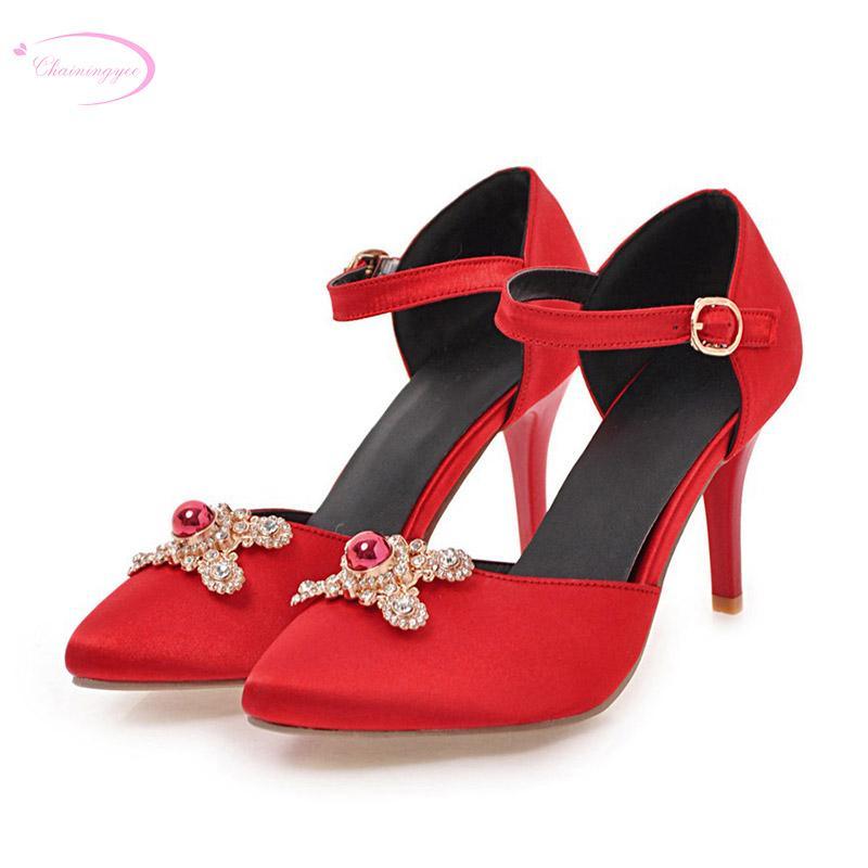 Atacado festa sexy apontou dedo do pé sandálias de verão diamante grânulos de fivela de cinto vermelho preto rosa azul sapatos de salto alto sapatos femininos