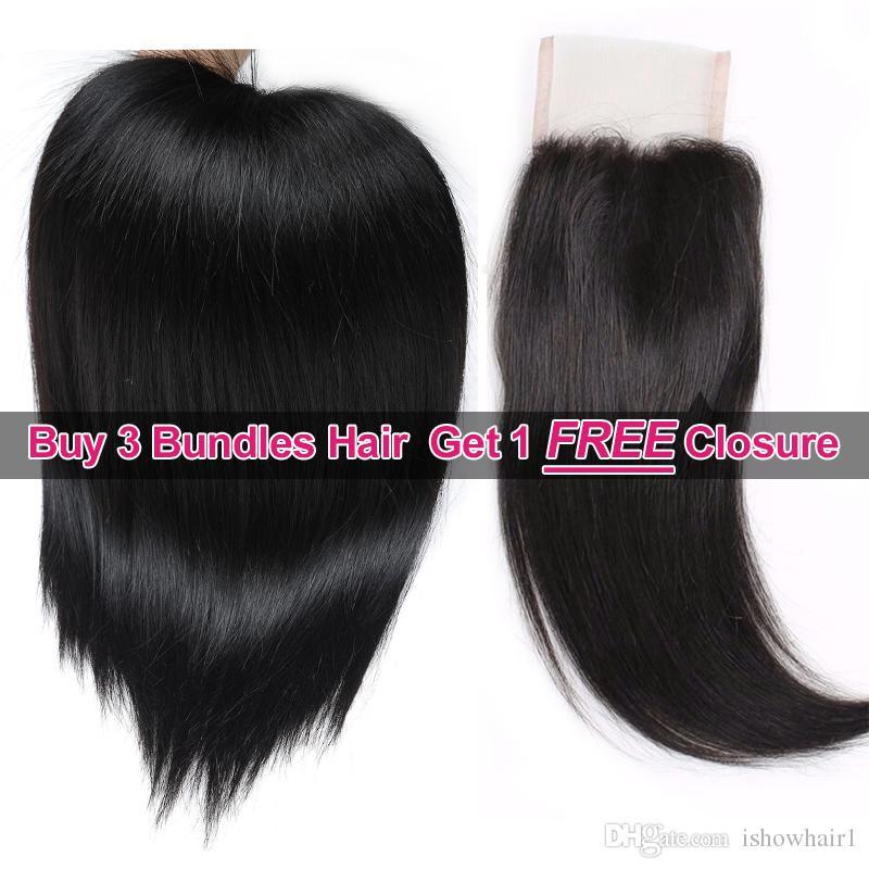 Promotion des soldes printanières de Ishow Hair Big Buy 3 Bundles Brailizan perruque malaisienne, cheveux raides, obtenez 1 fermeture à lacet gratuite, couleur naturelle