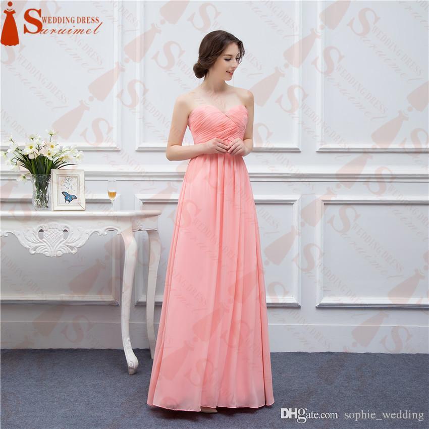 compre vestidos de dama de honor de gasa de color coral largo