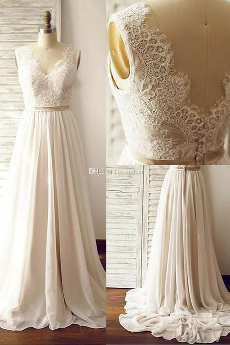 2019 New Fashion V-neck Women Wedding Dresses A-line Sleeveless Bridal Dresses Top Lace Waist Gold Sash Chiffon Skirts Bohemian Styles Cheap