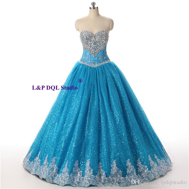 Mousseux robe de bal bleu robes de bal chérie lacets dos plis Tulle avec brillant paillettes perles mousseux cristal Quinceanera robe