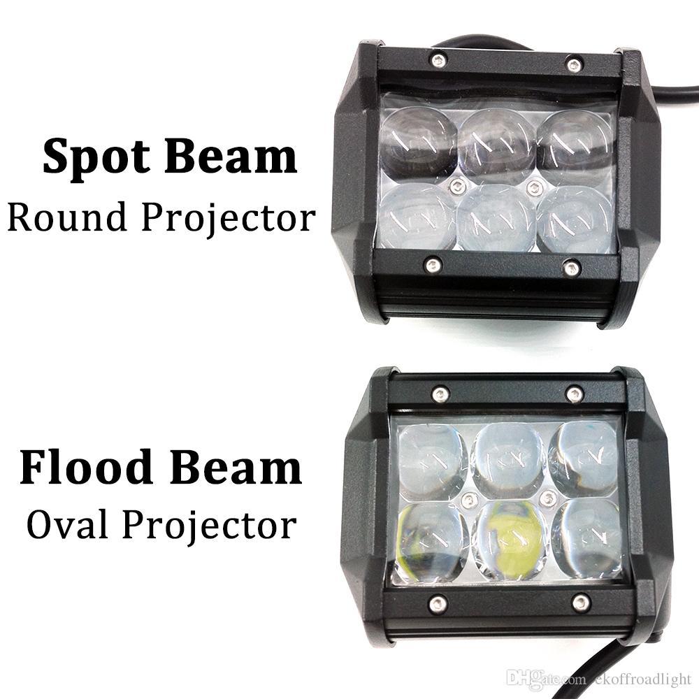 ECAHAYAKU 2 Pcs 4D 4 polegadas 30 W Led barra de luz de trabalho 12 V 24 V ATV Truck Motocicleta Lâmpada de condução 4x4 holofotes Off-road 18 W luzes de nevoeiro