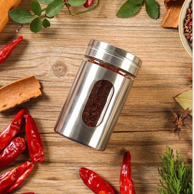 Нержавеющая сталь соль банку кухонные аксессуары приправа бутылка стекло перец солонка приправа приправа кулинария инструменты JC-031