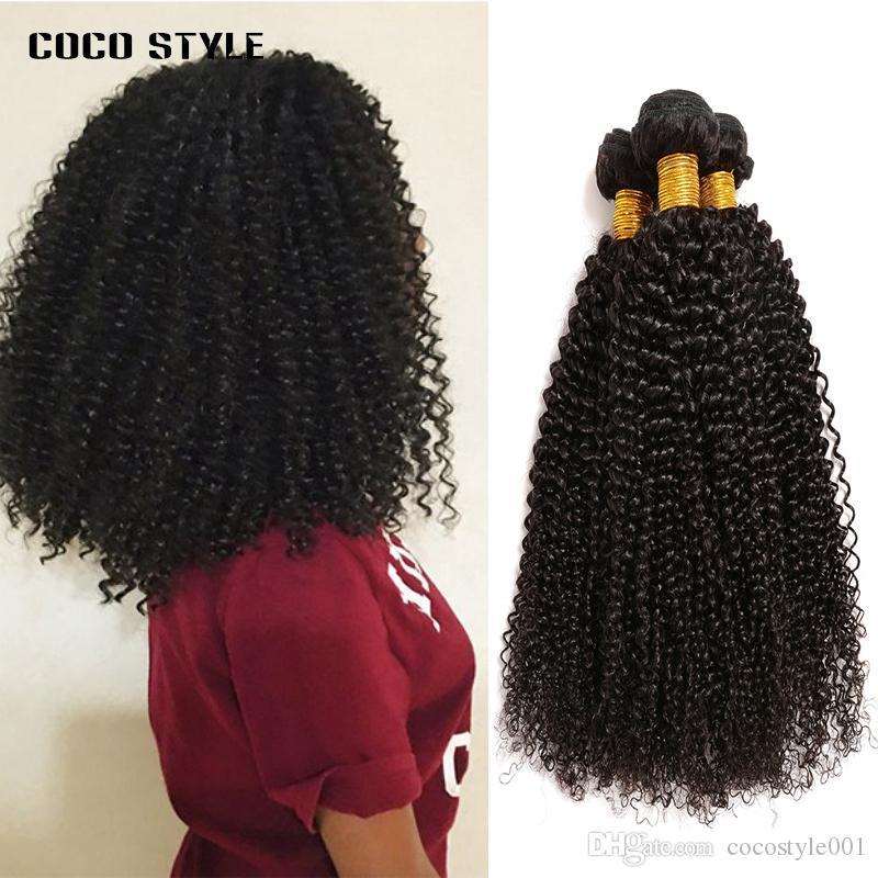Bundles brasiliani crespi capelli umani 3 Bundles 100% Remy Hair Weave Extension 8-28 pollici colore naturale