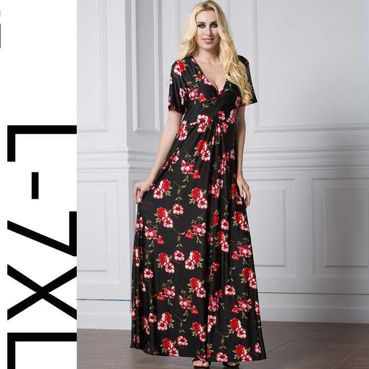 Womens Empire Waist Floral Print Long Dress Short Sleeve Round Neck Slim Casual Maxi Dresses