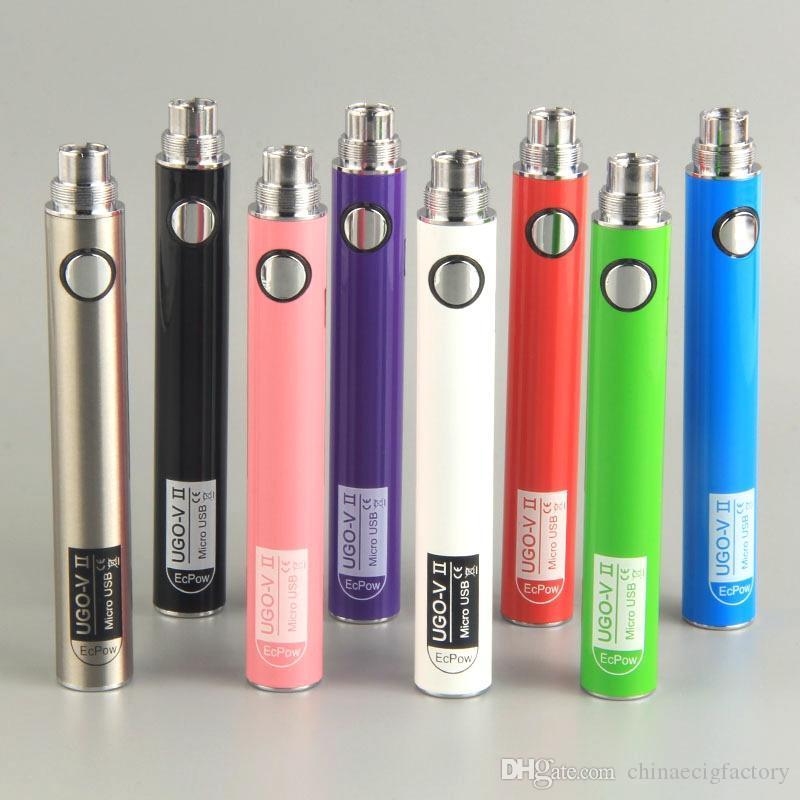 UGO V II Vape batterie 510 Batteries Préchauffage 650mAh 900mAh avec câbles de charge Micro USB pour la cartouche CIGS E atomiseurs Pen Vaporizer