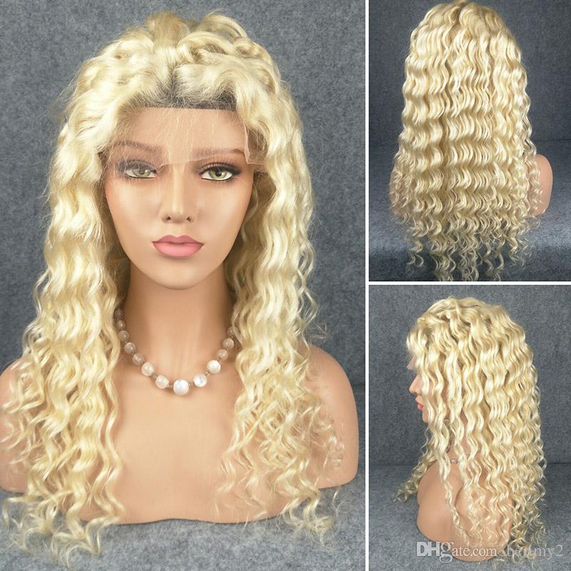 13x4 Brasileira 12A Transparente Lace Lace Front Human Human Wig com bebê 150% 180% grossa onda profunda mel loira # 613 cor perucas frontais para mulheres negras
