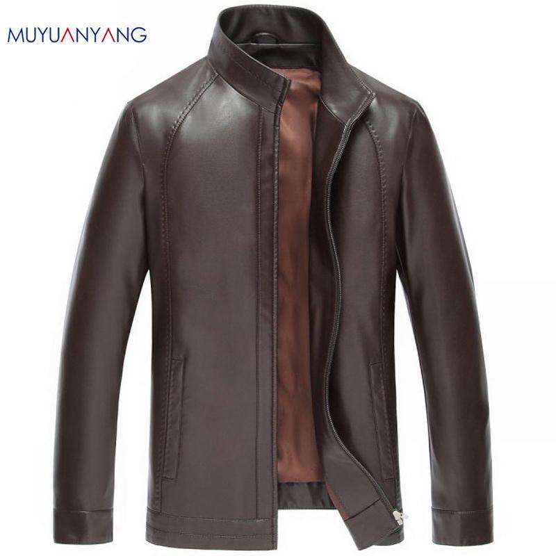 Al por mayor-Nueva marca de invierno chaquetas de cuero de imitación de los hombres de cuello chaqueta con cremallera y abrigos abrigo de invierno casual capa de nieve hombres chaqueta caliente