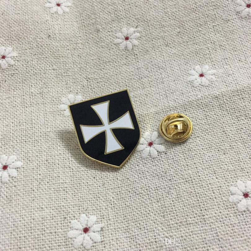 Масонский отворотом Pin и броши масон эмаль значки белый крест Черный щит христианская армия Крестоносец рыцари тамплиеры