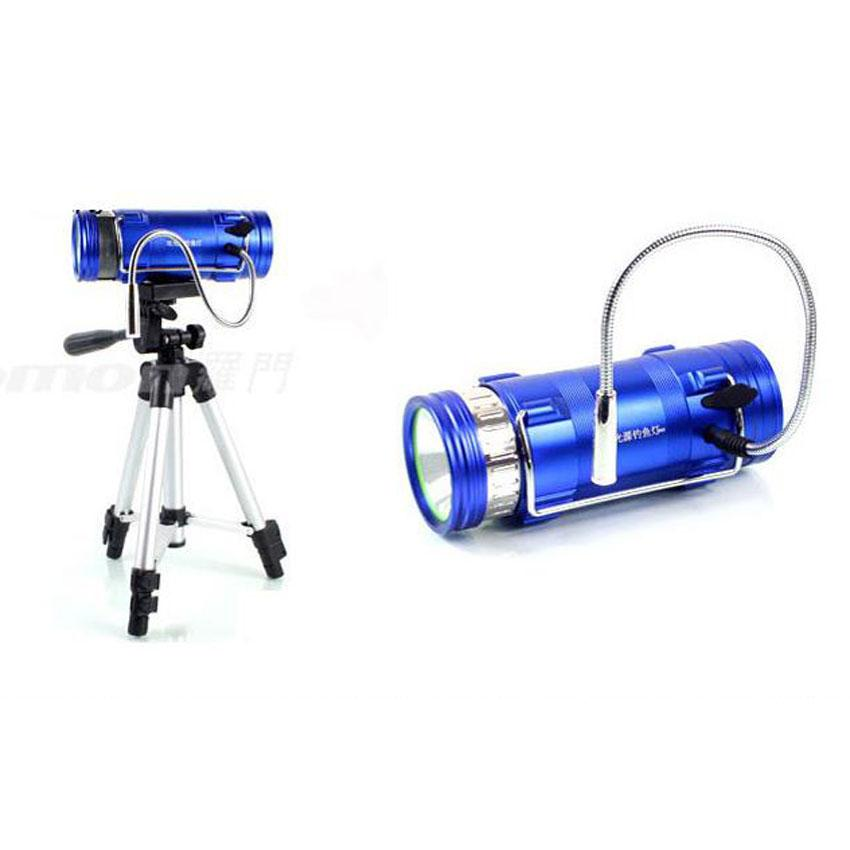 Professional LED Fishing Lamp 2 Color White Blue 3 Modes Zoomable torch LED Rechargeable Fishing Light with Tripod Bait Zoom Torch Hot