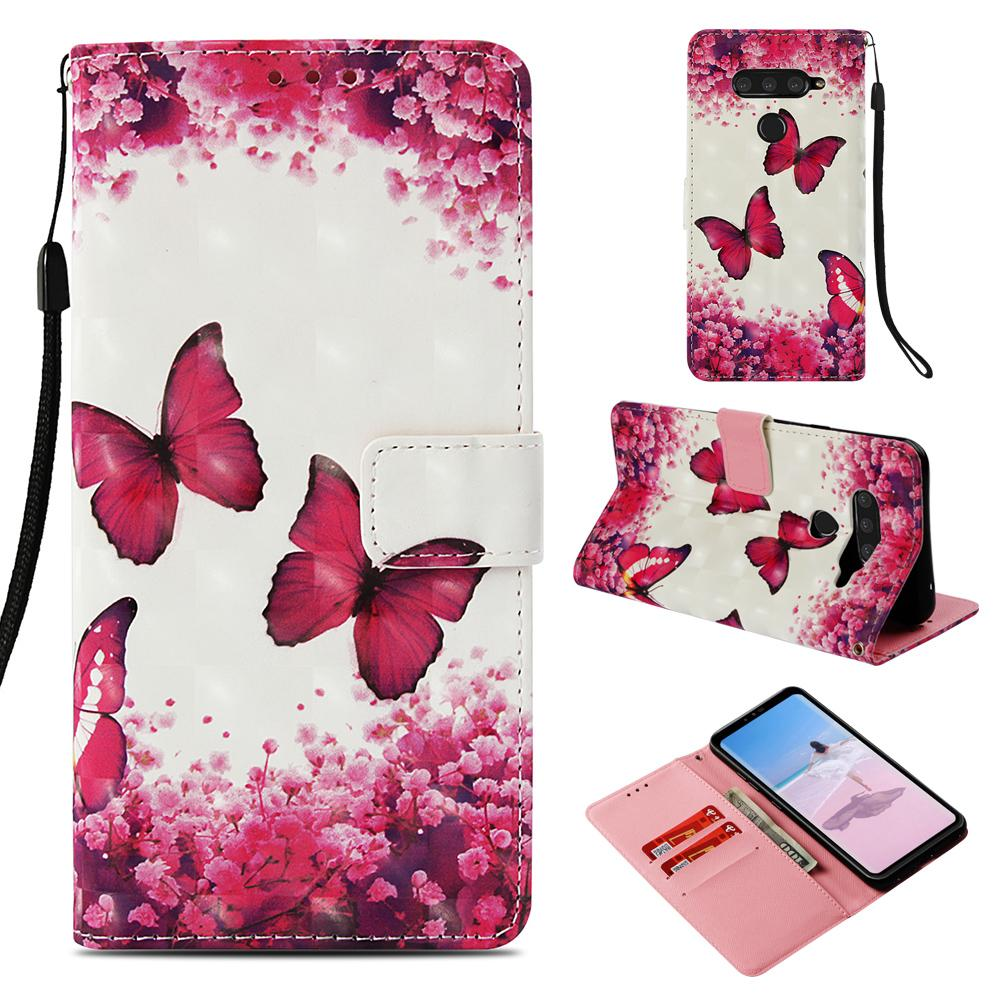 50pcs/lot 3D Printed Patterns Flip PU Leather Wallet Protector Phone Cover Case For LG V40 ThinQ / X Power3 Power 3