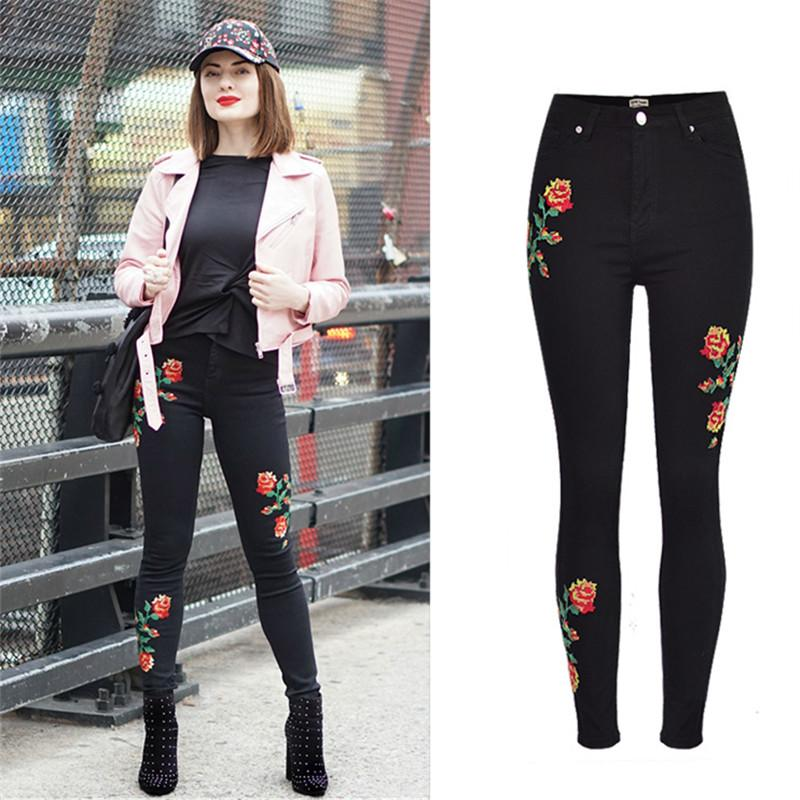 EYES 2017 Embroidery Oversize Vintage Women Jeans Pencil Pants Elasticity Black High Waist Jeans