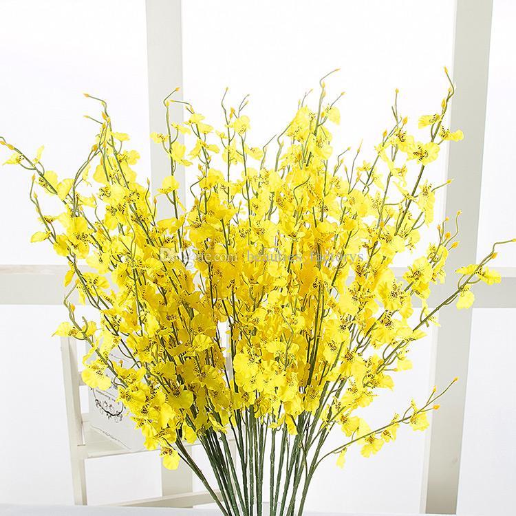 Fiori di seta Ballando Lady Orchid 5 rami di alta qualità fiori artificiali decorazioni per la casa per la festa di nozze Hotel Office Decor 95 centimetri