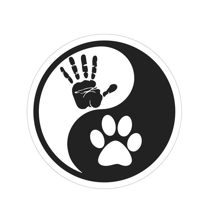 Human Hand Dog Paw Vinyl Motorcycle Car Sticker Decal Checkered Flags Windshield Sticker