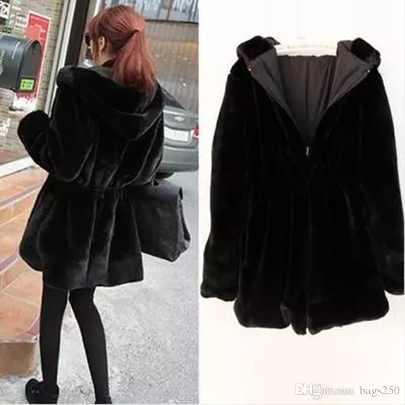 Winter New Fashion Large size Women's Fur Coat Solid color Warm Hooded Long sleeve Two-sided Female Fur & Faux Fur