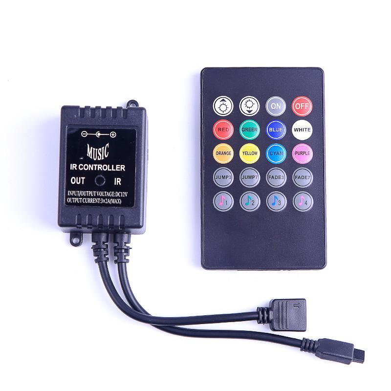 Dc12v 6a 20 مفاتيح الموسيقى ir تحكم عن الصمام أضواء تحكم باهتة ل smd 3528 5050 2835 3014 rgb led قطاع