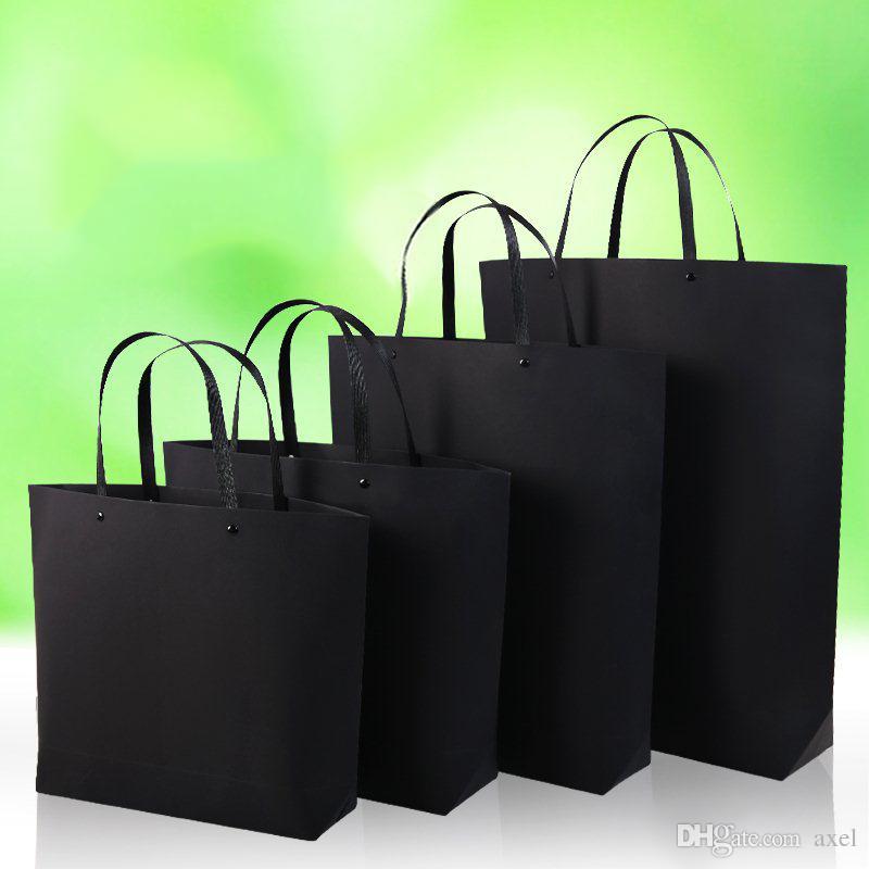 37*28cm+10cm Black card Kraft paper portable Thicken Ship type Rivets Trapezoidal the mall Fashion clothing Custom gift Advertising Bags