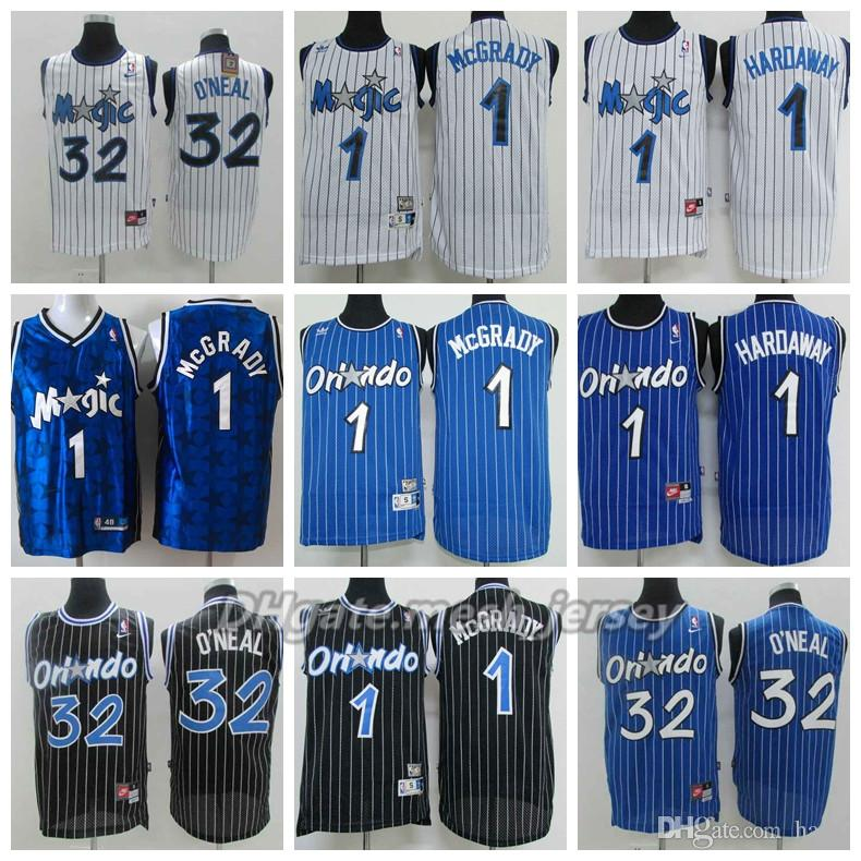 377ba944 Retro Men Orlando Basketball Magic Jersey 1 Tracy McGrady Mitchell & Ness  Blue 32 Shaquille O'Neal 1 Penny Hardaway Stitching Jerseys