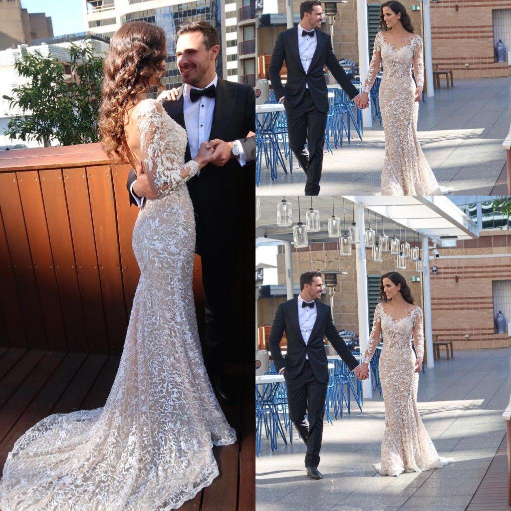 Elegante neue Meerjungfrau Brautkleider Schaufel Hals Spitze Applique Sweep Zug Backless Hochzeitskleid Brautkleider Vestidos de Noiva