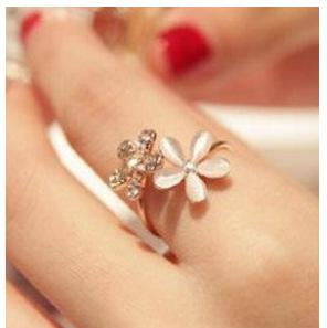 South Korea's exquisite high-end new ladies jewelry cat eye flower can adjust chrysanthemum ring opening ring