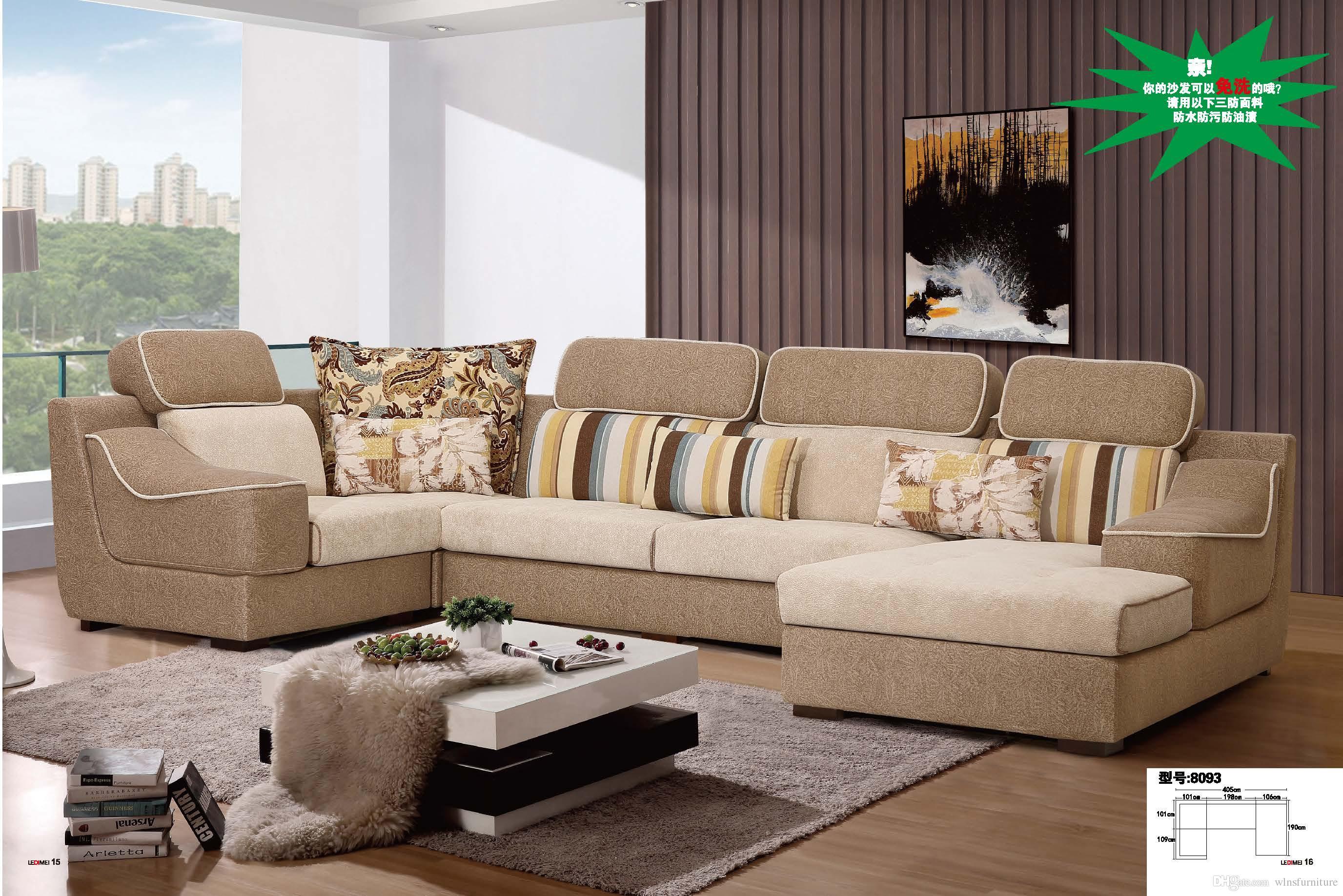 2019 U Shape Sectional Anti Bacterial Fabric Sofa Comfortable Soft ...