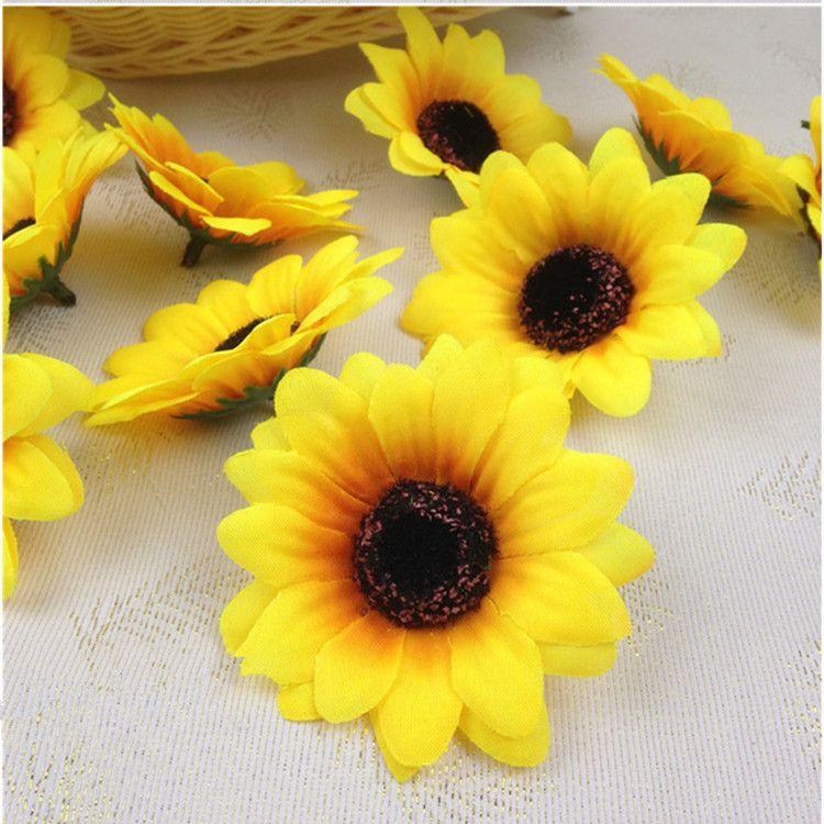 100 UNIDS 7 cm Seda Girasol Handmake Cabeza de Flor Artificial Decoración de La Boda DIY Caja de Regalo de la Guirnalda Scrapbooking Craft Fake Flor