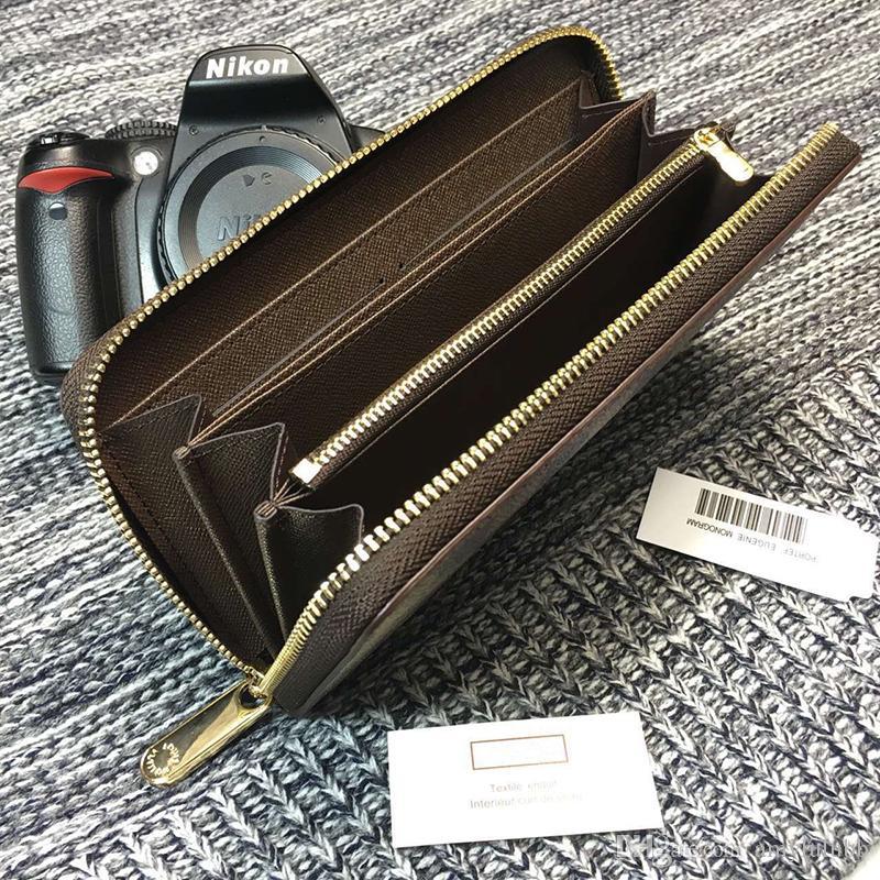 Bolsillo estándar clásico para hombres Compartimiento Moda Damier Long Zipper Wallet Venta al por mayor PU PU Wallet Note Moneda Organizador Moneybag Pu QSDV