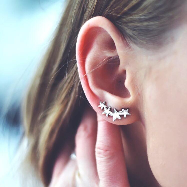designer jewelry  Fine Jewelry S925 sterling silver earrings for women Four Stars Modeling Charming Stud Earrings