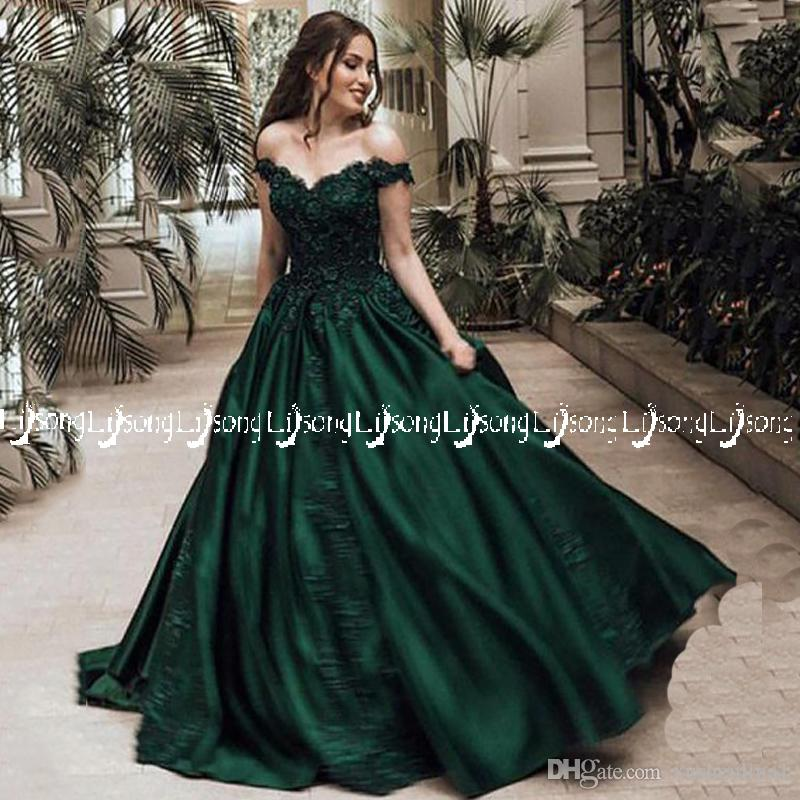 2018 Emerald Off Shoulder Evening Dress Ball Gown Appliques Dubai Vestido de Festa Winter Prom Party Wear Ball Gown Lace Up with petticoat