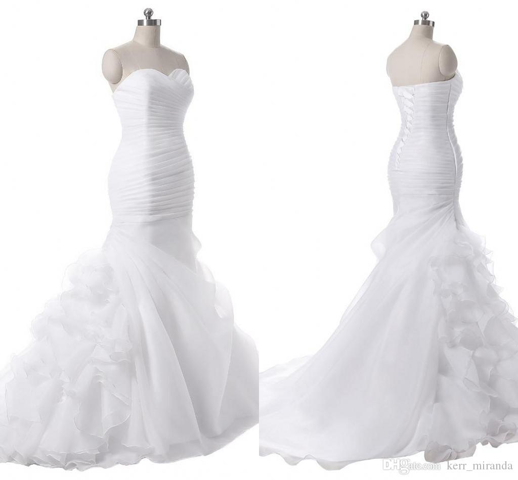 Yeni Geldi Sevgiliye Fırfır Mermaid Uzun Organze Düğün Kadınlar Için Gelin Elbiseler Gelinlikler Artı Boyutu Gelinlik DH4191