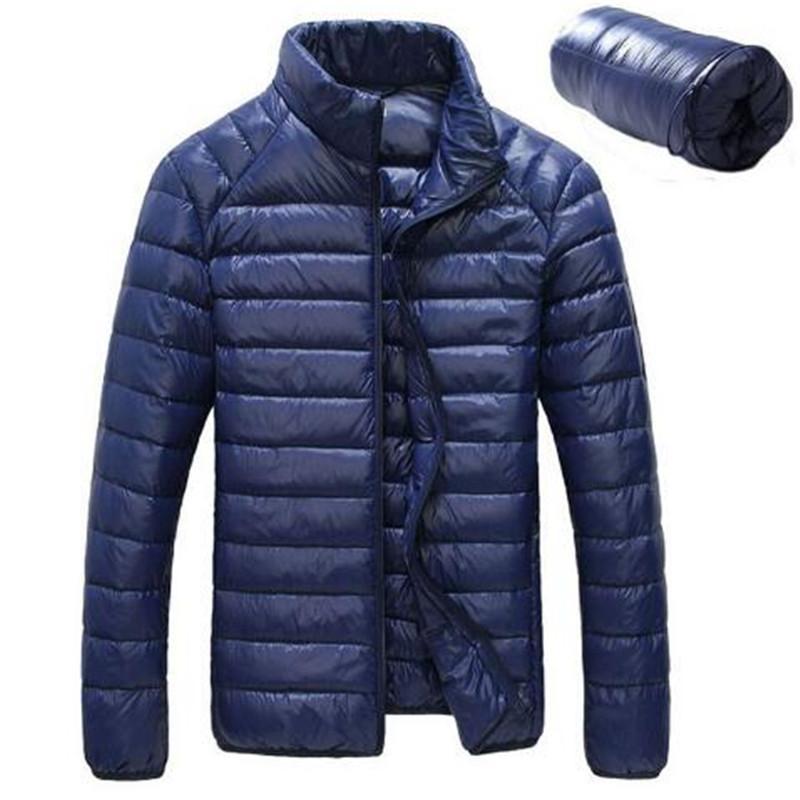Pato de invierno abajo de la chaqueta de los hombres 90% de contenido Down delgada chaqueta ultra ligera de invierno de manga larga abrigos sólidos de moda de bolsillo