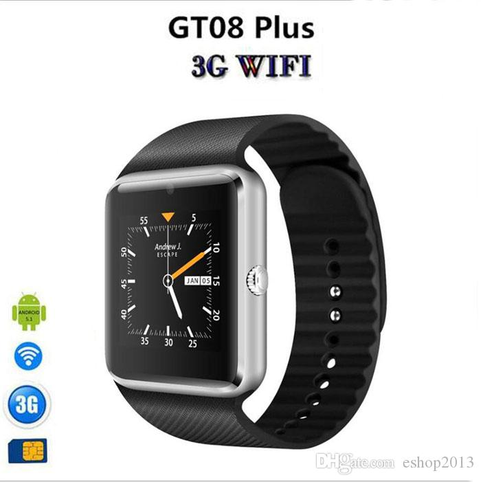 Newest QW08 GT08 Plus Android phone smart watch MTK6572 Dual-core with SIM card camera GPS Wifi WCDMA 3G google play store support whatsapp
