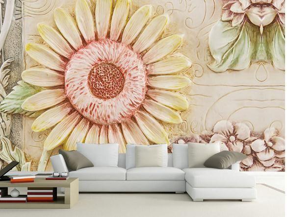 фото фреска обои тиснением подсолнечника цветок ТВ фон настенная живопись